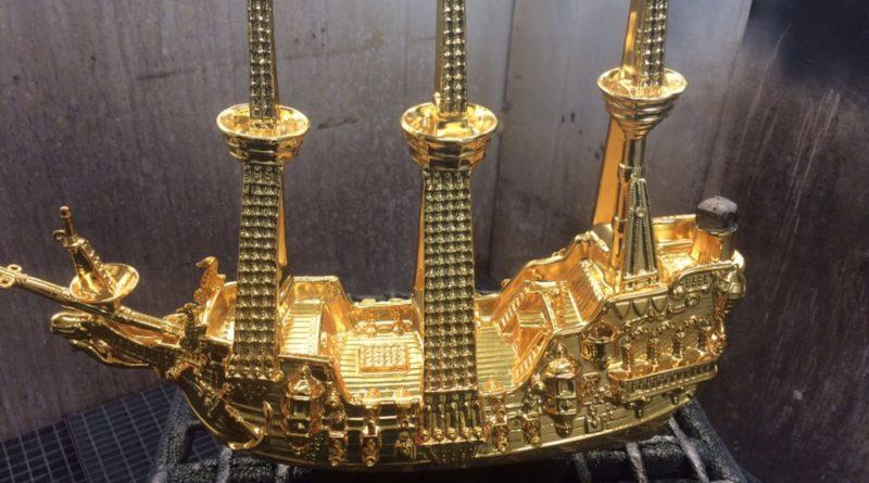 Хромирование декоративной фигуры- корабль-2