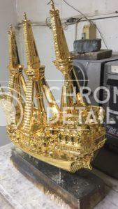 Хромирование декоративной фигуры- корабль-6