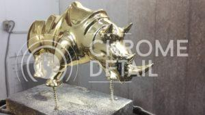 Хромирование фигур- носорог золотой 2